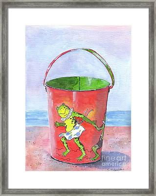 Vintage Sand Pail Dancing Frogs Framed Print by Sheryl Heatherly Hawkins