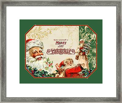 Vintage Santa Claus - Glittering Christmas 3 Framed Print by Audrey Jeanne Roberts