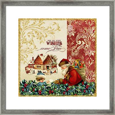 Vintage Santa Claus - Glittering Christmas 4 Framed Print by Audrey Jeanne Roberts