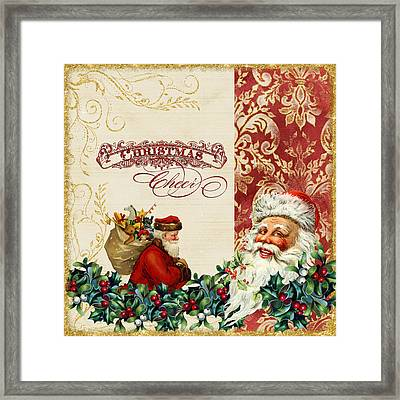 Vintage Santa Claus - Glittering Christmas 5 Framed Print by Audrey Jeanne Roberts