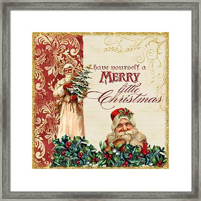 Vintage Santa Claus - Glittering Christmas Framed Print by Audrey Jeanne Roberts