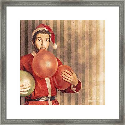 Vintage Santa Preparing For Christmas Party Framed Print by Jorgo Photography - Wall Art Gallery