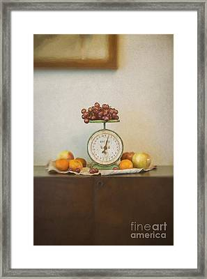 Vintage Scale And Fruits Painting Framed Print