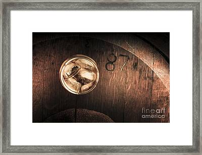 Vintage Scotch Whisky On Wooden Tabletop Framed Print