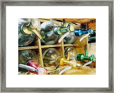 Vintage Seltzer Bottles Framed Print