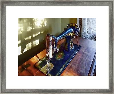 Vintage Sewing Machine And Shadow Framed Print