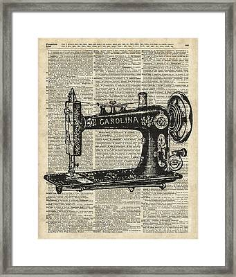 Vintage Sewing Machine Framed Print by Jacob Kuch