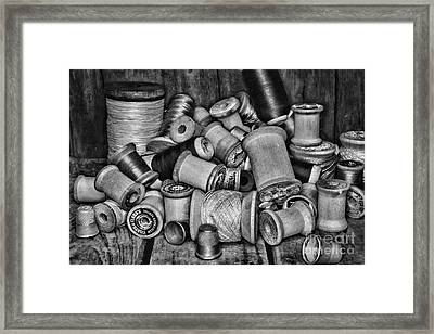 Vintage Sewing Spools In Black And White Framed Print by Paul Ward
