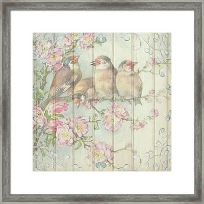 Vintage Shabby Chic Floral Faded Birds Design Framed Print