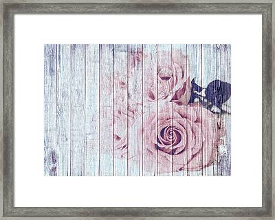 Vintage Shabby Chic Dusky Pink Roses On Blue Wood Effect Background Framed Print