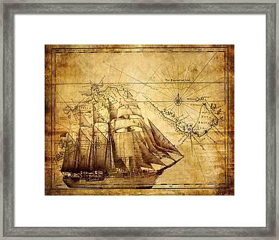 Vintage Ship Map Framed Print