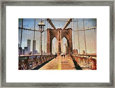 Vintage Shot Of Brooklyn Bridge With Twin Towers Framed Print by Nishanth Gopinathan