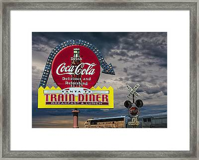 Vintage Sign For A Classic Train Diner With The South Dakota Central Railway Framed Print