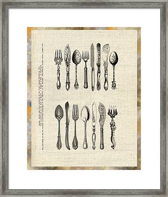 Framed Print featuring the drawing Vintage Silverware by Ariadna De Raadt