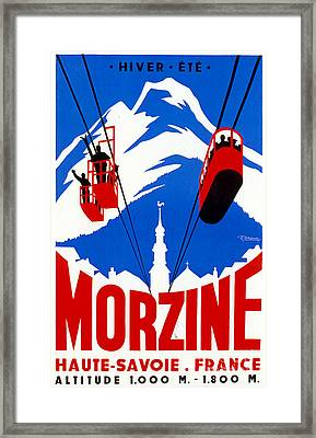 Vintage Ski Travel France Framed Print by Mindy Sommers