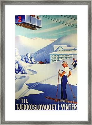 Vintage Skiing Poster Framed Print