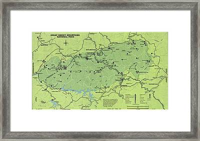 Vintage Smoky Mountains National Park Map Framed Print
