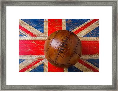 Vintage Soccer Ball British Flag Framed Print by Garry Gay