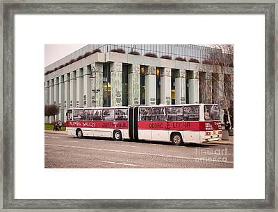 Vintage Solidarnosc Bus On Street Framed Print