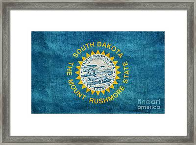 Vintage South Dakota Flag Framed Print