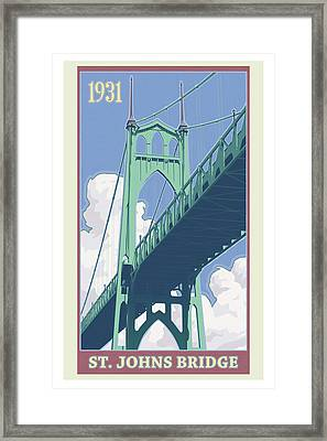 Vintage St. Johns Bridge Travel Poster Framed Print by Mitch Frey
