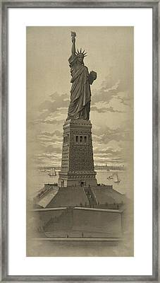 Vintage Statue Of Liberty Framed Print by War Is Hell Store