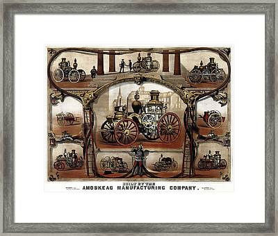 Vintage Steam Fire Engine Catalog C. 1885 Framed Print by Daniel Hagerman