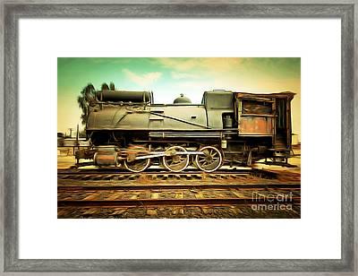 Vintage Steam Locomotive 5d28362brun Framed Print by Home Decor