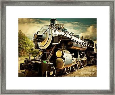 Vintage Steam Locomotive 5d29110brun Framed Print by Home Decor