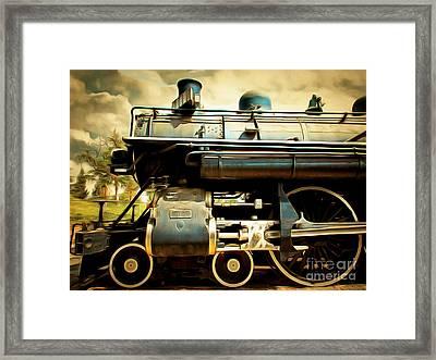 Vintage Steam Locomotive 5d29112brun Framed Print by Home Decor