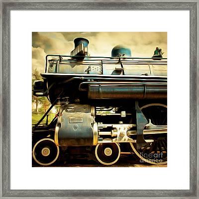 Vintage Steam Locomotive 5d29112brun Sq Framed Print by Home Decor