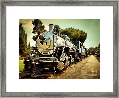 Vintage Steam Locomotive 5d29135brun Framed Print by Home Decor