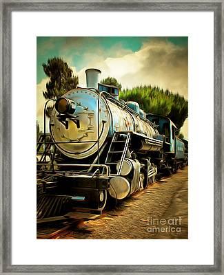 Vintage Steam Locomotive 5d29138brun Framed Print by Home Decor