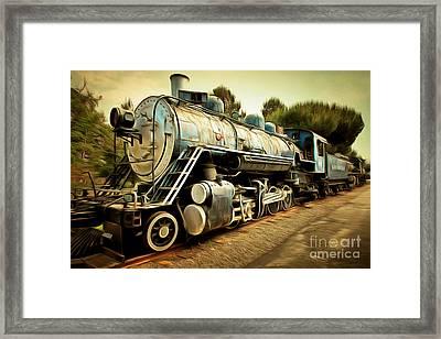 Vintage Steam Locomotive 5d29142brun Framed Print by Home Decor
