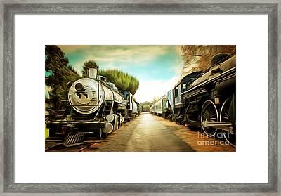 Vintage Steam Locomotive 5d29143brun Framed Print by Home Decor