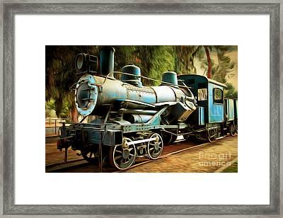 Vintage Steam Locomotive 5d29168brun Framed Print by Home Decor
