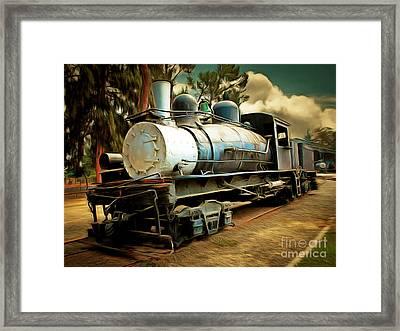 Vintage Steam Locomotive 5d29172brun Framed Print by Home Decor