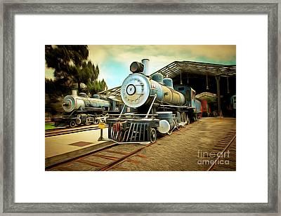 Vintage Steam Locomotive 5d29179brun Framed Print by Home Decor