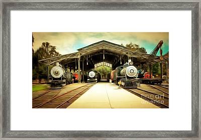 Vintage Steam Locomotive 5d29186brun Framed Print by Home Decor