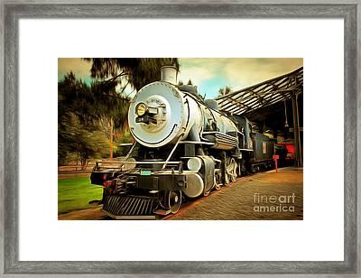 Vintage Steam Locomotive 5d29200brun Framed Print by Home Decor