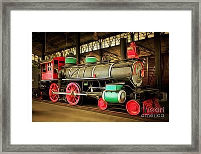 Vintage Steam Locomotive 5d29244brun Framed Print by Home Decor