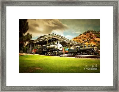 Vintage Steam Locomotive 5d29279brun Framed Print by Home Decor