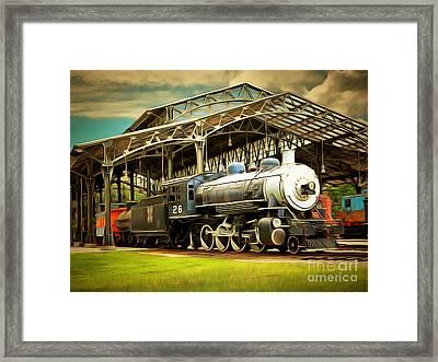 Vintage Steam Locomotive 5d29281brun Framed Print by Home Decor