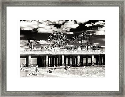 Vintage Steel Pier At Atlantic City Framed Print