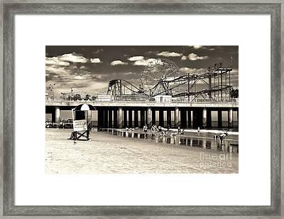 Vintage Steel Pier Framed Print by John Rizzuto