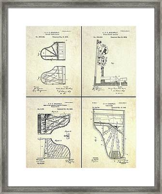 Vintage Steinway 4 Panel Patent Art Framed Print by Gary Bodnar