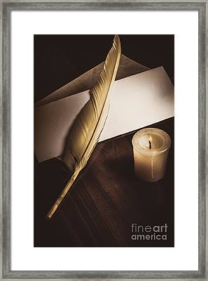 Vintage Still Life Quill Pen And Old Paper Framed Print by Jorgo Photography - Wall Art Gallery