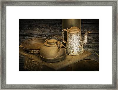 Vintage Stovetop With Kettles Framed Print by Randall Nyhof