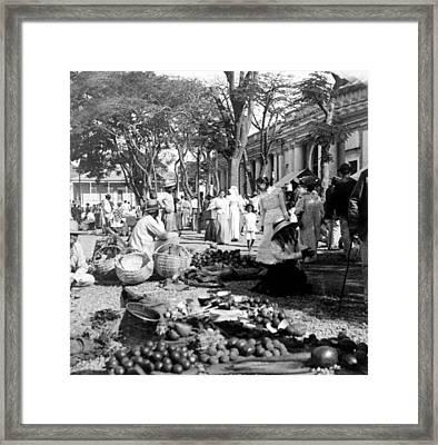 Vintage Street Scene In Ponce - Puerto Rico - C 1899 Framed Print