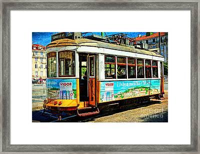 Vintage Street Tram In Lisbon Framed Print